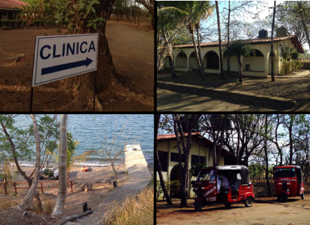 4-panel images of Managua: upper left, a sign that says Clinica; upper right, an arched 1-story building; lower right, two 3-wheeled small open-sided vehicles; lower left, looking out to water at a sandy beach and pier